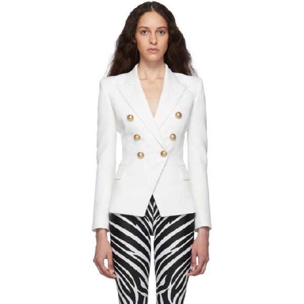 Balmain Woman Button-embellished Distressed Denim Blazer White In Blanc C0001