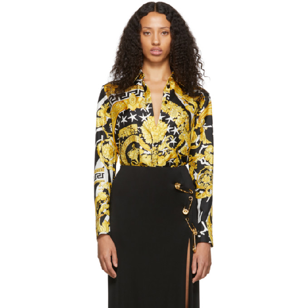 Versace Savage Barocco Print Detailed Silk Shirt In A7900 Multi