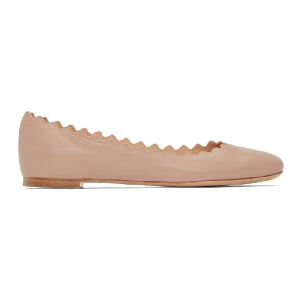 ChloÉ Lauren Scalloped Leather Ballet Flats, Light Pink In 26C Pink Te