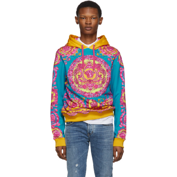 Versace Baroque Print Cotton Sweatshirt Hoodie In A785 Orange