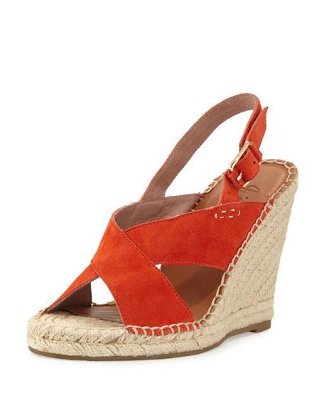Joie Jace Crisscross Slingback Wedge Sandal, Orange, Sunset
