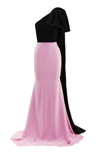 Alex Perry Anderson-crepe Two-tone One Shoulder Gown In Pink