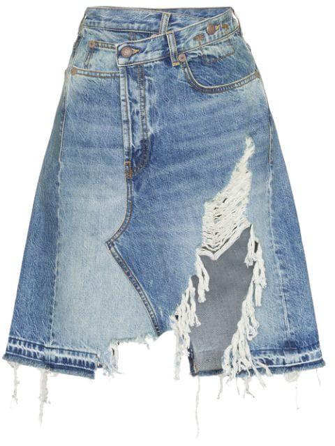 R13 Norbury Asymmetric Distressed Denim Midi Skirt In Blue