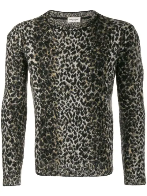 Saint Laurent Wool Sweater With An Allover Leopard Jacquard In Beige/black