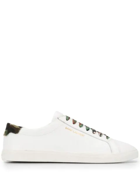 Saint Laurent Andy Sneakers In Smooth Leather And Camouflage-print Canvas In 9373 -bl Op/kaki+dk Ka+ner