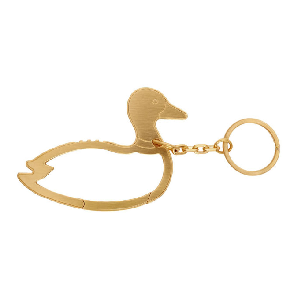 Thom Browne Duck Icon Carabiner In 715 Gold