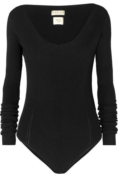 Bottega Veneta Stretch V-neck Long Sleeve Pullover In Black