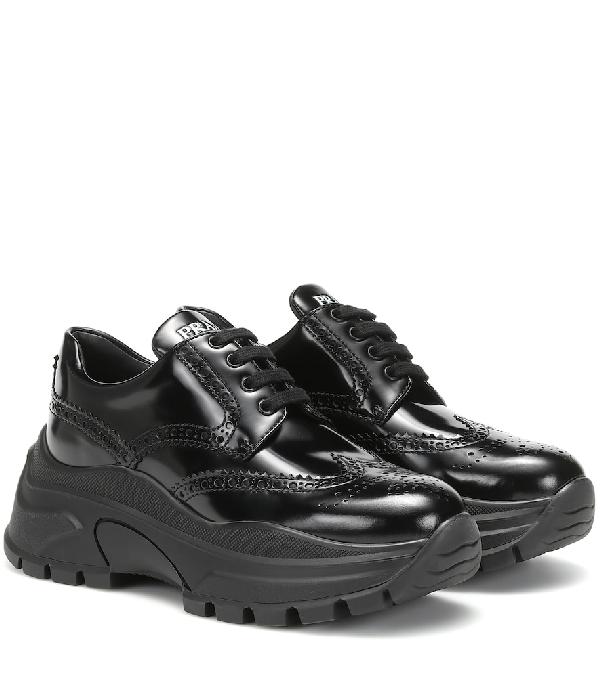 Prada Spazzolato Leather Wingtip Sneakers In Nero