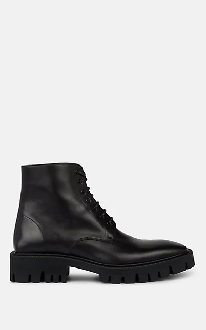 Balenciaga Outdoor Rim Leather Combat Boots In Black