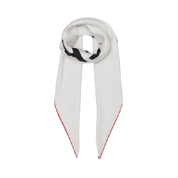 Burberry Horseferry Print Silk Square Scarf In White