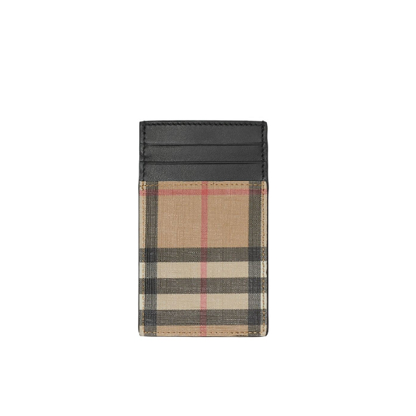 Burberry Vintage Check E-canvas And Leather Card Case In Black