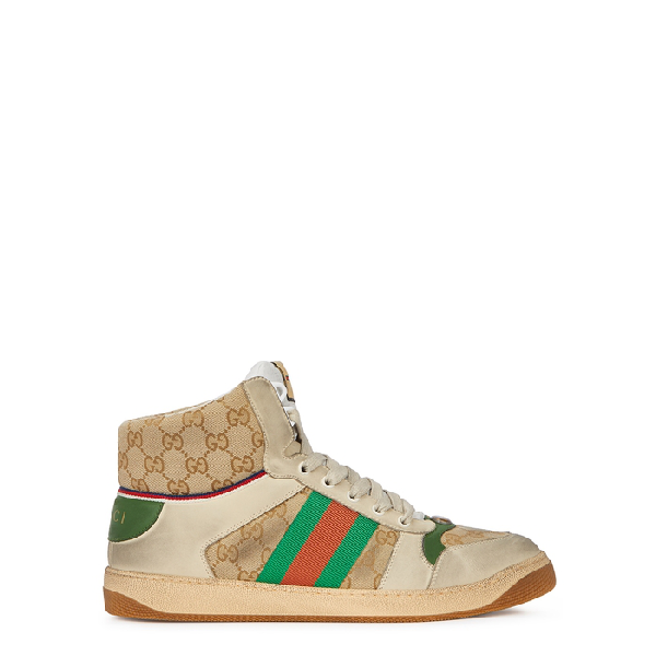 Gucci Screener Webbing-trimmed Distressed Leather And Monogrammed Canvas High-top Sneakers In Beige