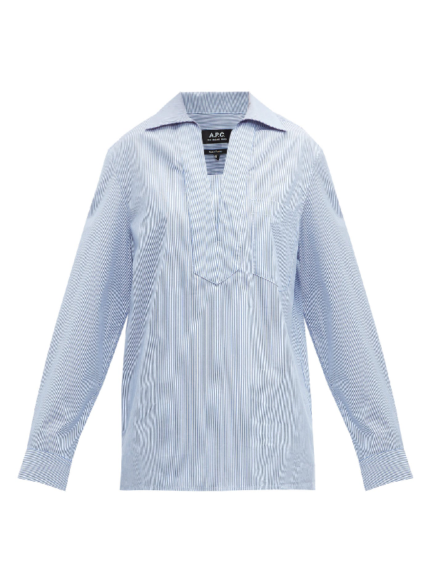 A.p.c. Roma Striped Oversized Cotton Shirt In Blue