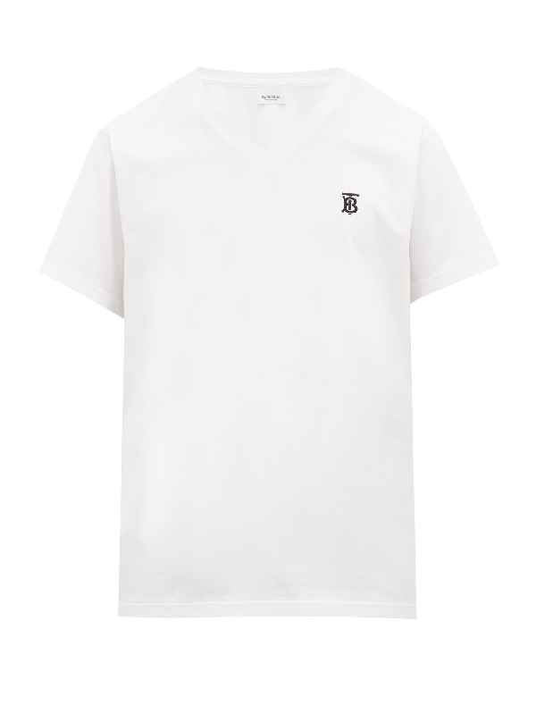 Burberry Parker Logo-embroidered Cotton-jersey T-shirt In White