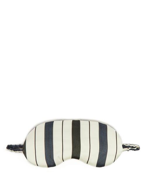 Asceno Striped Silk Satin Eye Mask In White Stripe