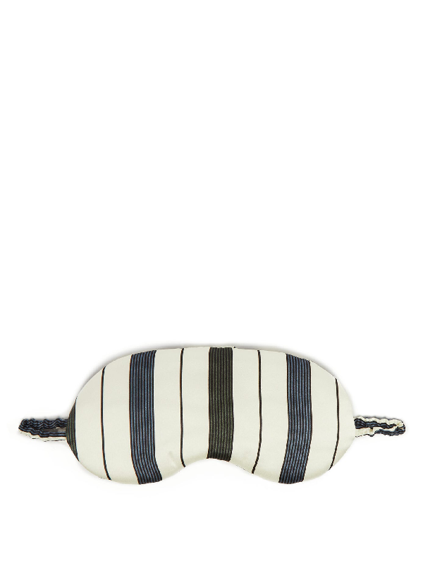 Asceno Striped Silk-satin Eye Mask In White Stripe