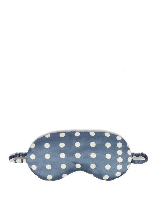 Asceno Polka Dot Silk Satin Eye Mask In Blue Multi