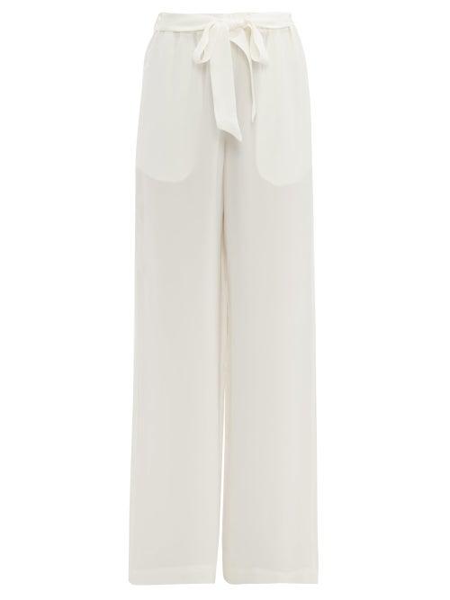 Asceno Silk Crepe Wide Leg Pyjama Trousers In White