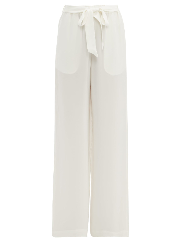 Asceno Silk-crepe Wide-leg Pyjama Trousers In White