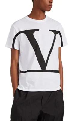 Valentino White Cotton T Shirt With Black V Logo Print