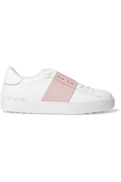 Valentino Garavani White And Pink Garavani Rockstud Untitled Sneakers In Pastel Pink