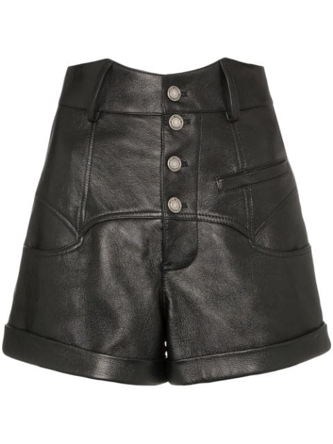 Saint Laurent High-waisted Leather Shorts - 黑色 In Black