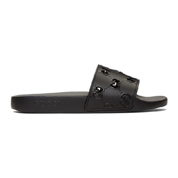 Gucci Pursuit Gg Logo Slides - 黑色 In 1000 Black