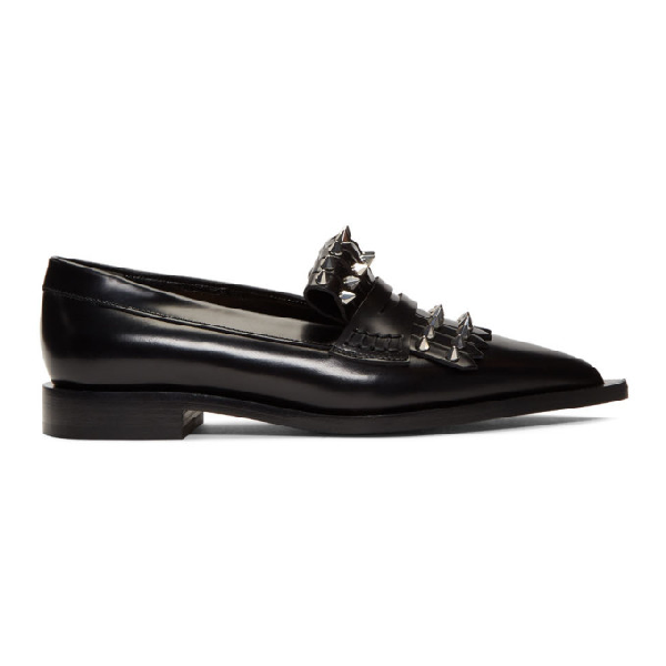 Alexander Mcqueen Watson/silver Hardware Leather Loafer In 1081 Bk/sil