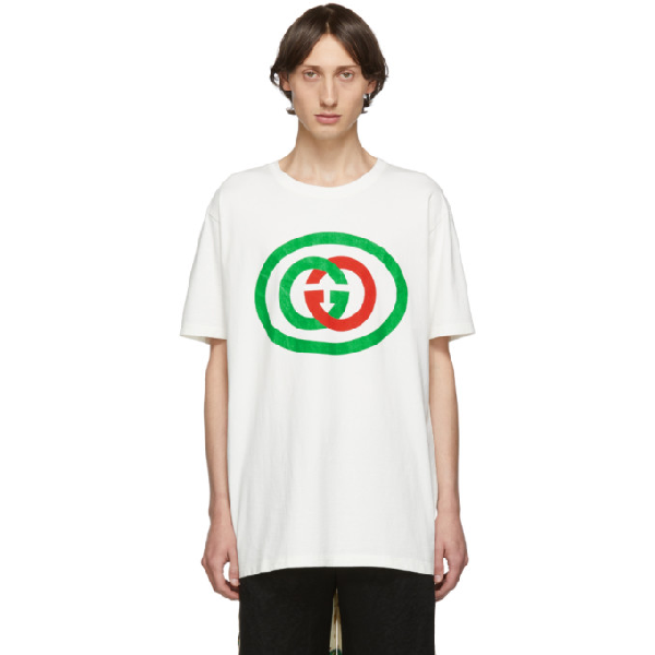 Gucci White Unisex Oversized T-Shirt With Gg Print In 9037 Milk/Green