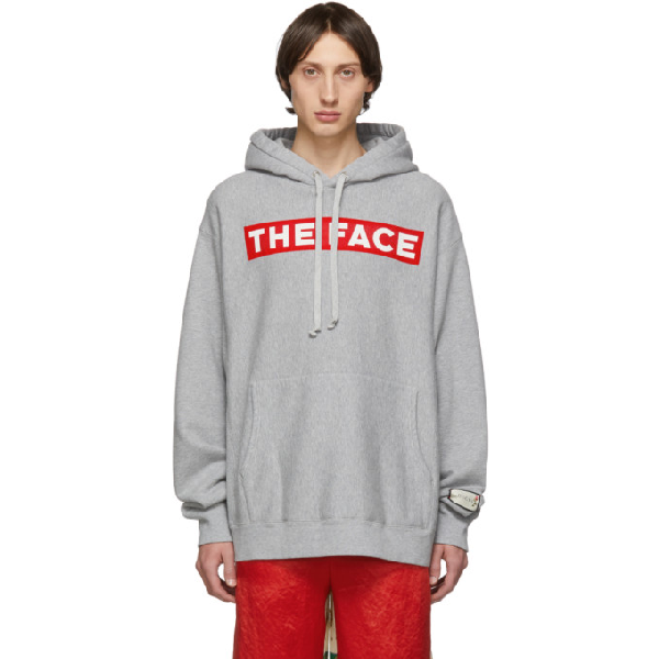 Gucci The Face Oversized Logo-print MÉlange Loopback Cotton-jersey Hoodie In 1130 Grey