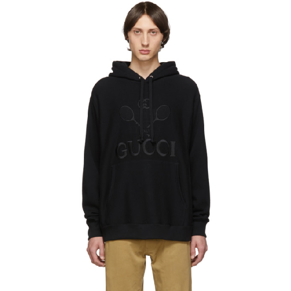 Gucci Tennis Logo-Embroidered Cotton Hooded Sweatshirt In Black