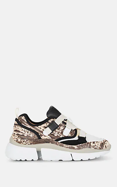 ChloÉ 'Sonnie' Chunky Outsole Low Top Lizard Embossed Patchwork Sneakers In Brown