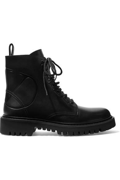 Valentino Garavani Combat Boots In Black In 0No Nero