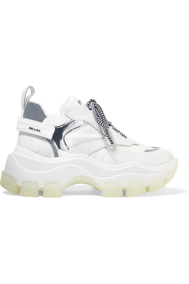 Prada Pegasus Metallic-Paneled Leather And Canvas Sneakers In White