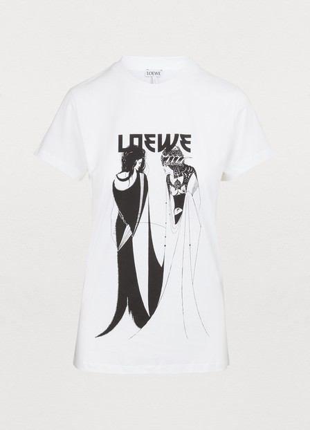 Loewe Salome Logo=Print Cotton-Jersey T-Shirt In 2100 White