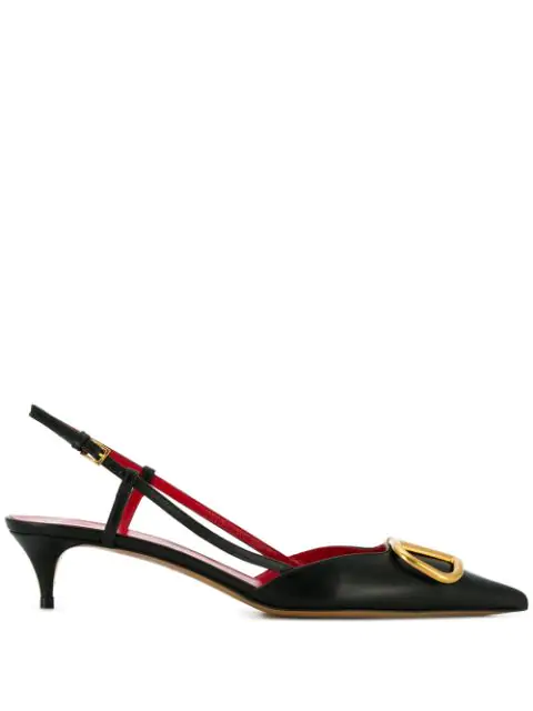 Valentino Slingback Pumps Vlogo Sling Calfskin Logo Metallic Black Red In 0No  Nero