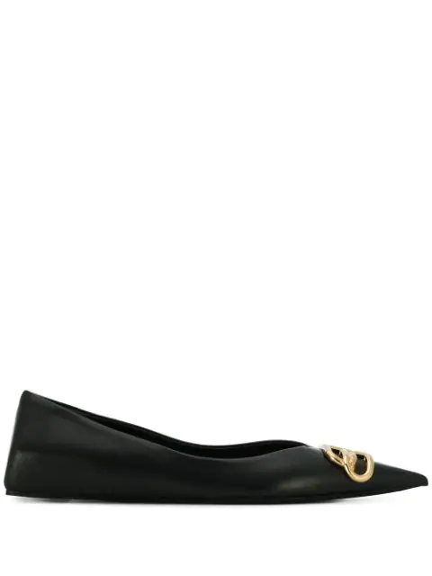 Balenciaga Square Knife Logo-embellished Leather Point-toe Flats In Black