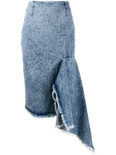Balenciaga Asymmetrical Godet Acid Wash Denim Skirt In Blue