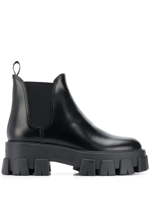 Prada Women's Leather Heel Ankle Boots Booties Monolith In Black
