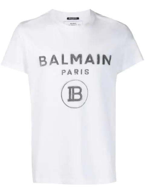 Balmain White Logo-print Cotton T-shirt