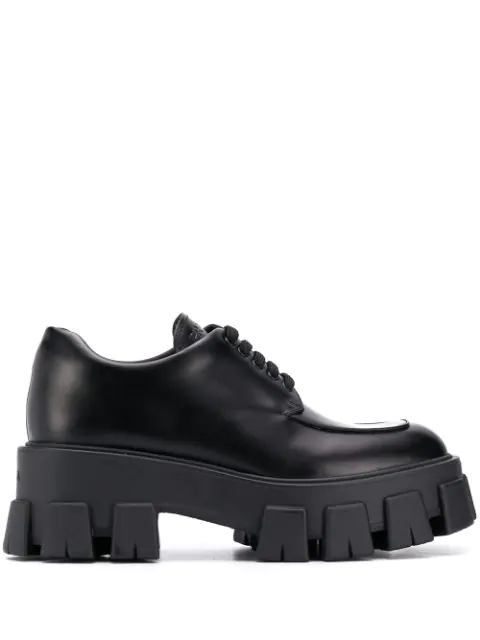 Prada Leather Shoes With Tank Sole/spazzolato Rois Fondo Tasselli In F0002 Black