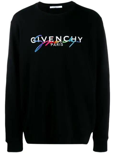 Givenchy Multicoloured Signature Crew Neck Sweater In Black