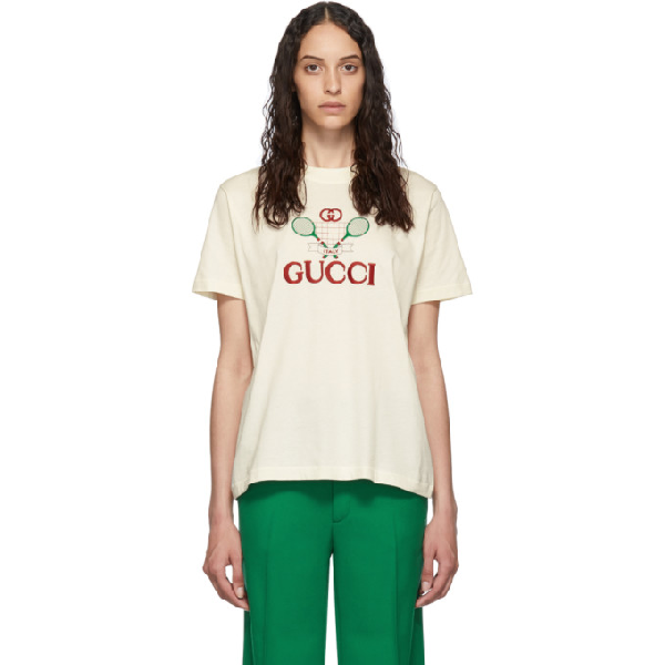 Gucci Gg Logo-embroidered Cotton T-shirt In White