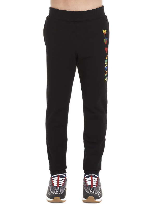 Versace Hearts Pants In Black