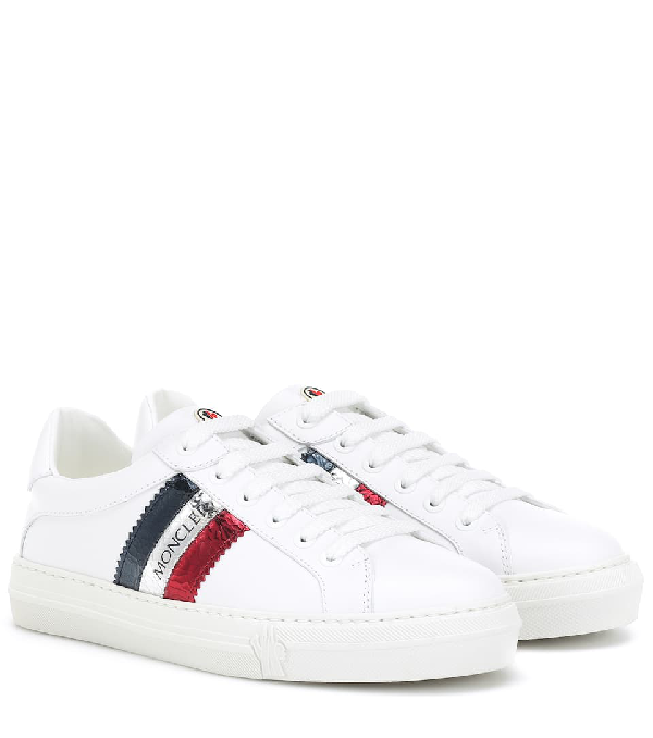Moncler Ryegrass Metallic Stripe Leather Sneakers In White