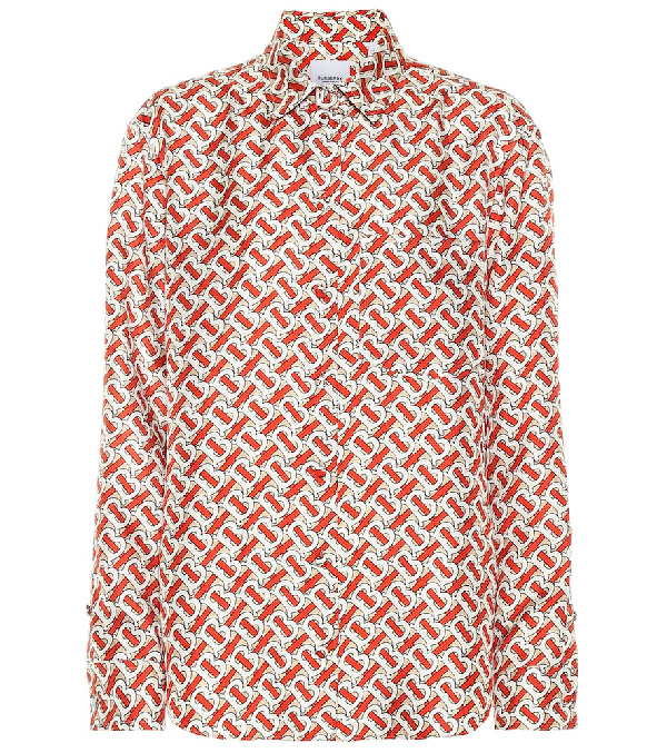 Burberry Red And Beige Silk Shirt With Monogram Print