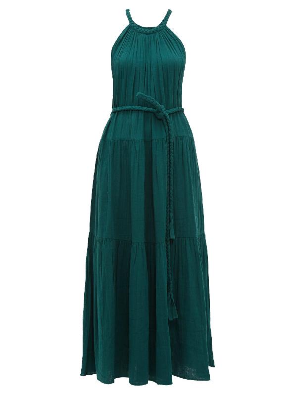 Apiece Apart Escondido 配腰带褶皱纯棉巴里纱超长连衣裙 In Emerald