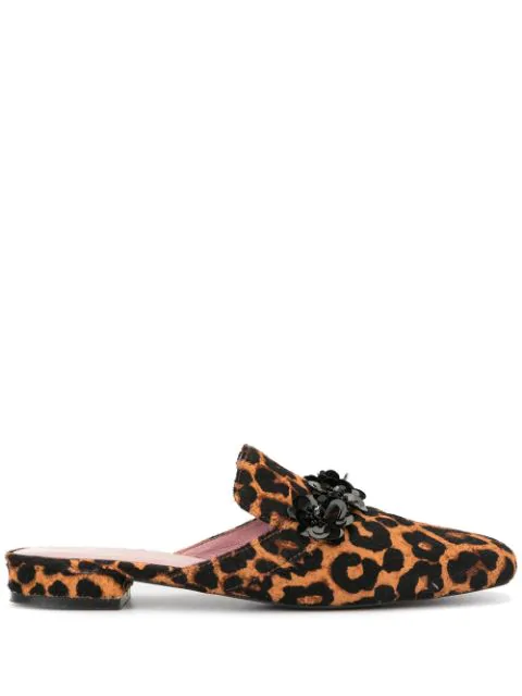 Macgraw Margot Leopard Print Slip-on Loafers In Brown