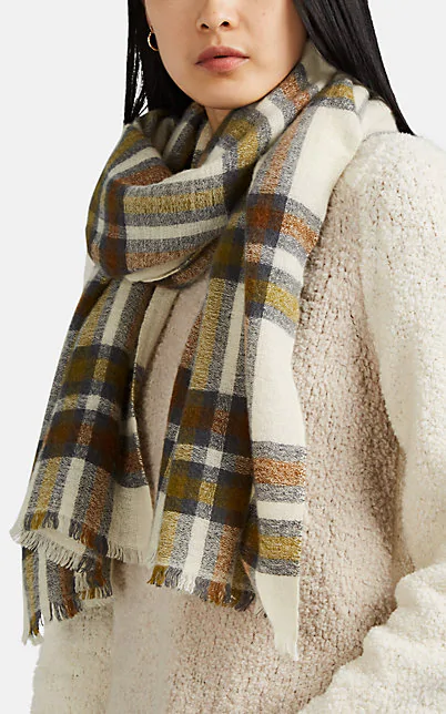 Isabel Marant Simona Plaid Wool And Cashmere-Blend Scarf In White