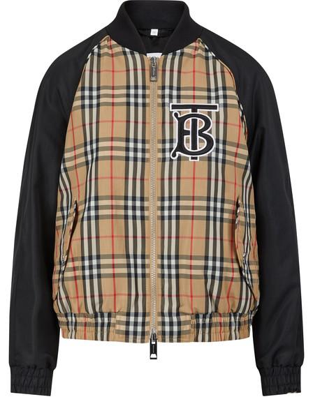 Burberry Monogram Motif Vintage Check Bomber Jacket In Black